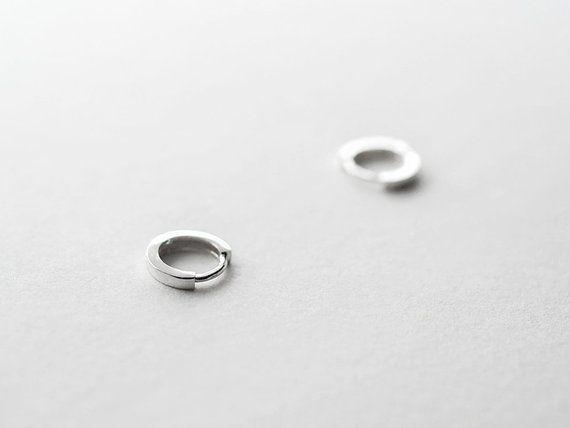 90aa09974 Sterling Silver Hinged Tiny Hoop Earrings - 10mm Huggie Sleeper hoops - Gift  For Her - Simple Minima