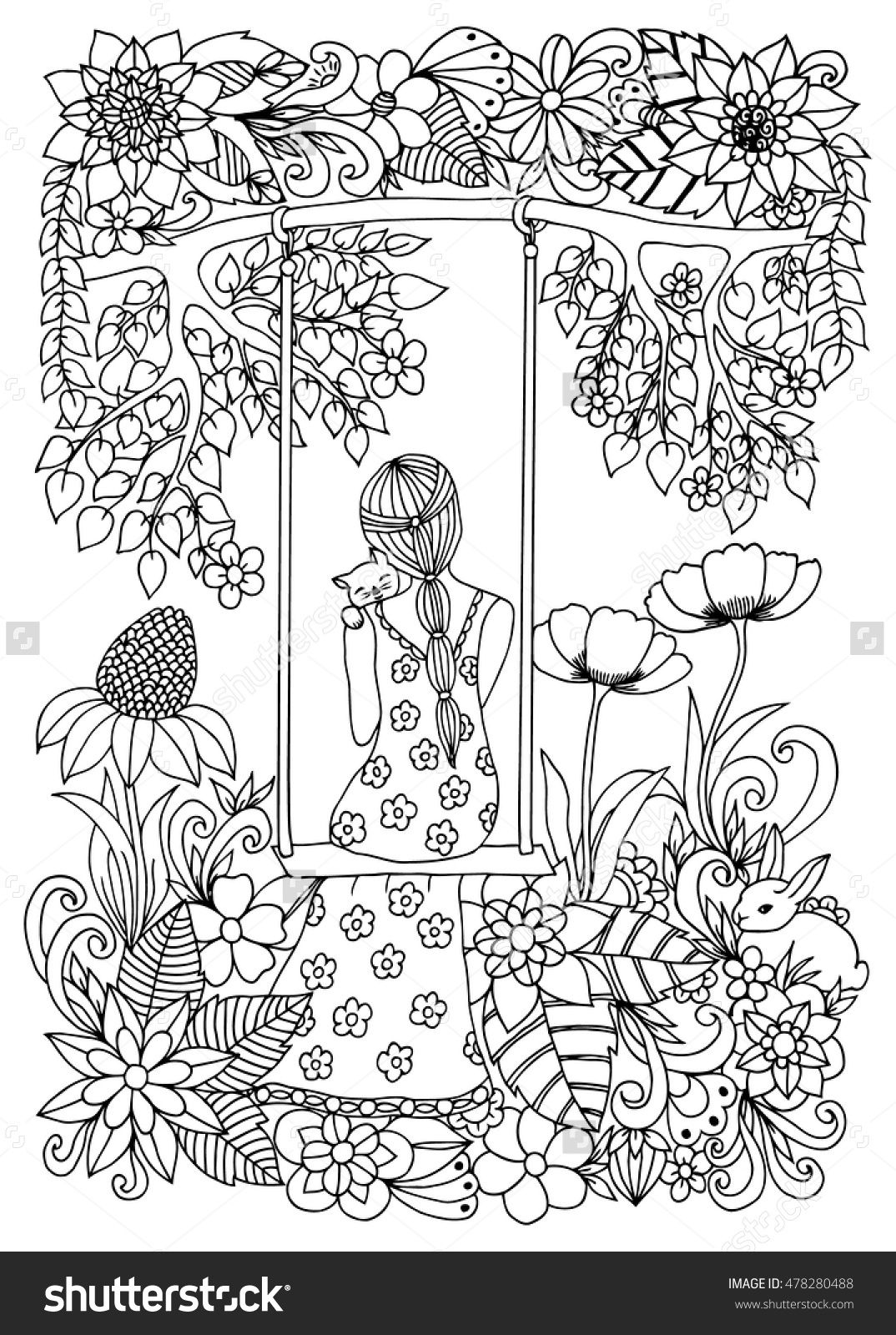 zentangle girl with kitten on swing coloring page | Coloring ...