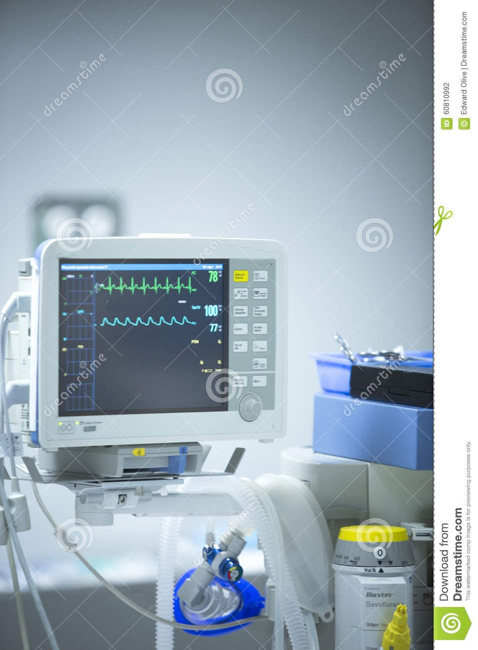 Endoscopy Room Design: Surgery Hospital Operating Room Heart Rate Monitor Stock
