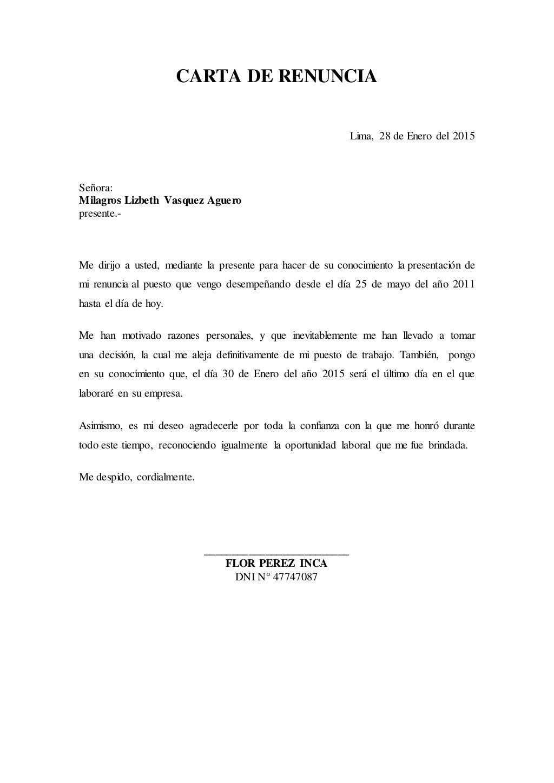 CARTA DE RENUNCIA Lima, 28 de Enero del 2015 Señora: Milagros ...
