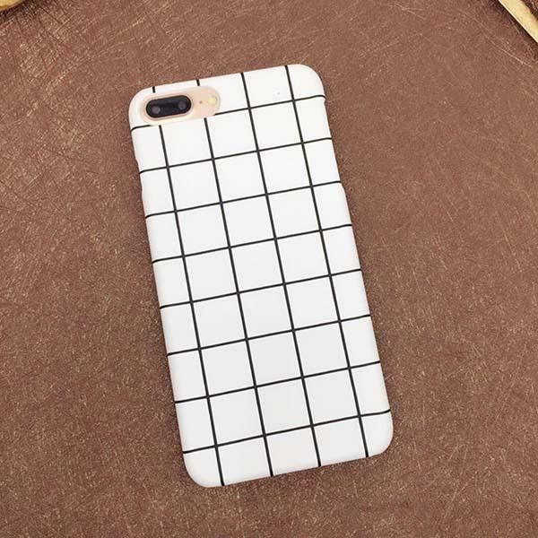 newest collection 71925 c181e Simple Fashion Black White Grid Phone Cases For iphone 7 6 6s Plus ...
