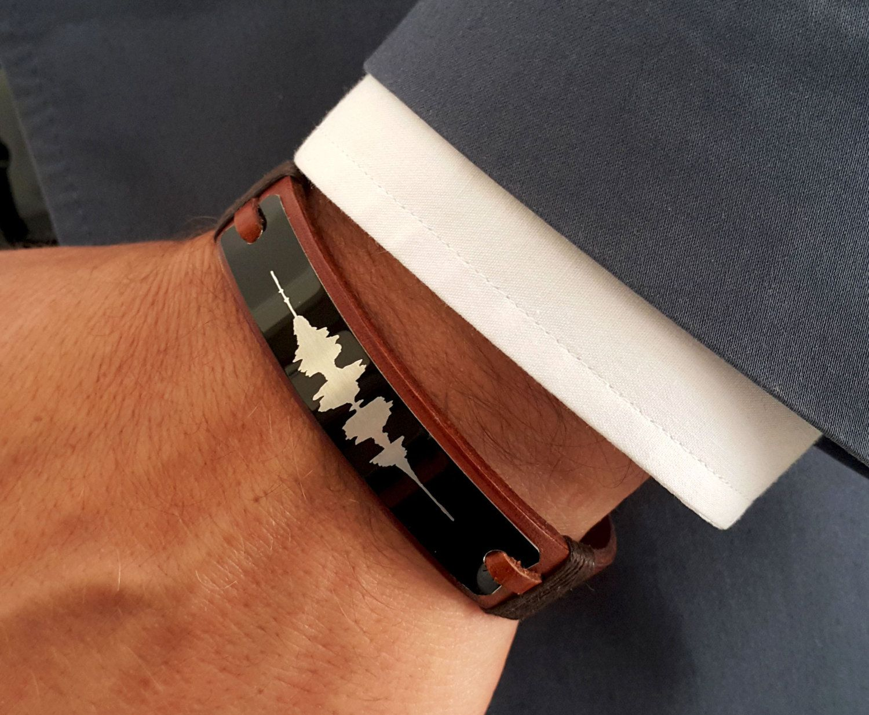 Custom Soundwave Bracelet Personalized Sound Wave Engraving Leather Voice Recording Gift Mens Anniversary Groomsmen