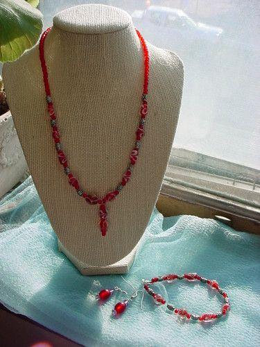 Beaded Necklace Bracelet Pierced Earrings SET Fashion Red Silver-tone Beads