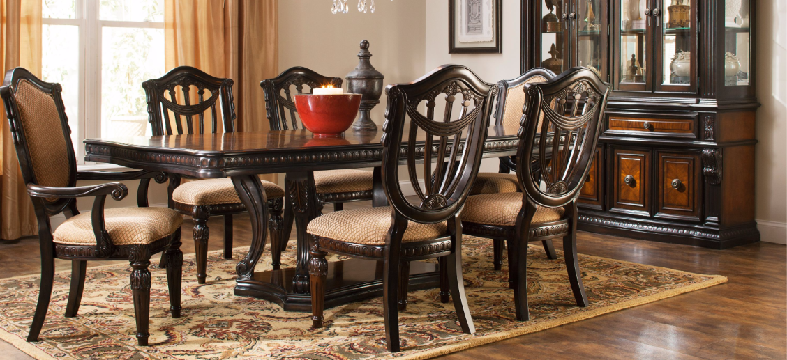 Make A Statement In Your Traditional Decor With The Bradford Heights 7 Piece Dining Set The S Cheap Dining Room Sets Dining Room Sets Modern Glass Dining Room