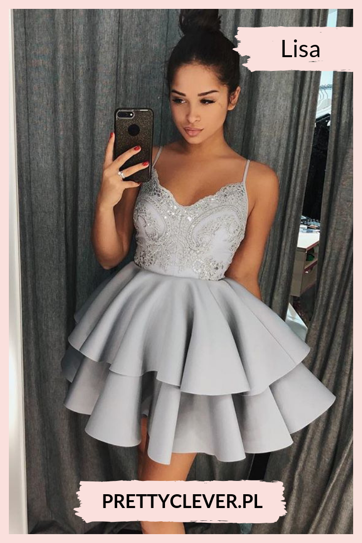 180ed9a208 Rozkloszowana sukienka z falbanami na cienkich ramiączkach   sukienkanawesele  sukienkarozkloszowana  sukienkaszara   sukienkanaweseleszara