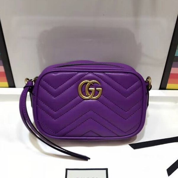 9627c1e967b Gucci 448065 GG Marmont Matelassé Chevron Mini Chain Shoulder Camera Bag  Purple 2018