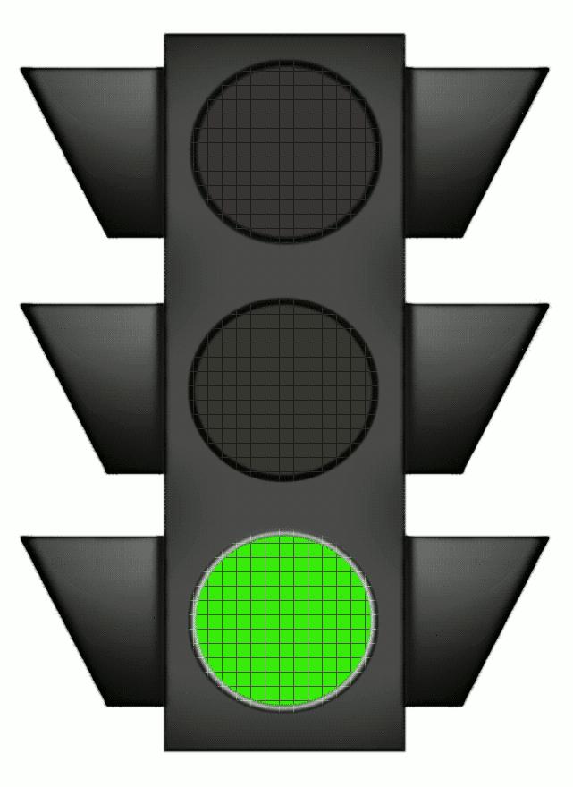 Traffic Signal Large Green Night