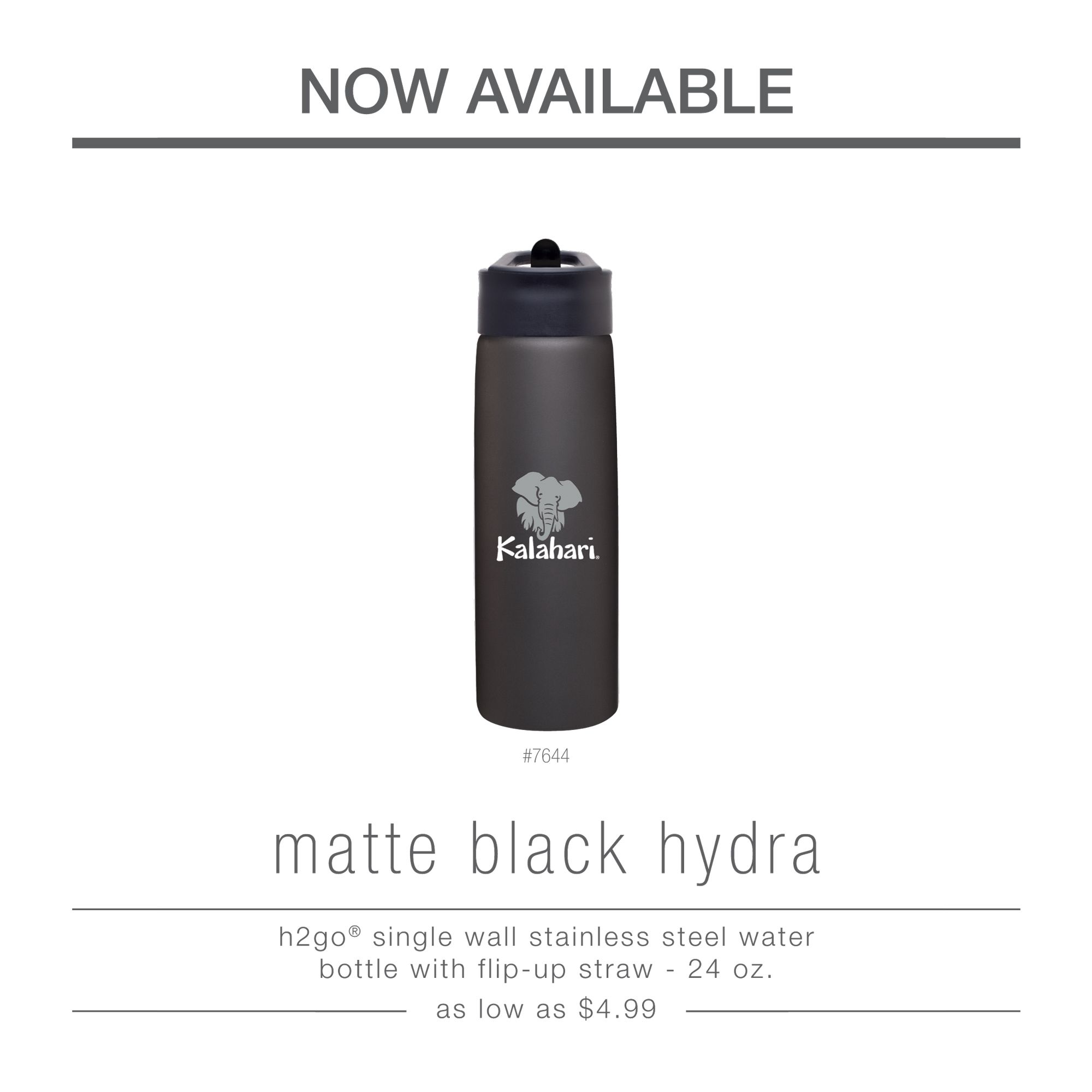 Now online and in stock!  Do you love the matte black bottles we carry? If you do this post is for you! We are now adding the matte black hydra to our stainless steel water bottle line.