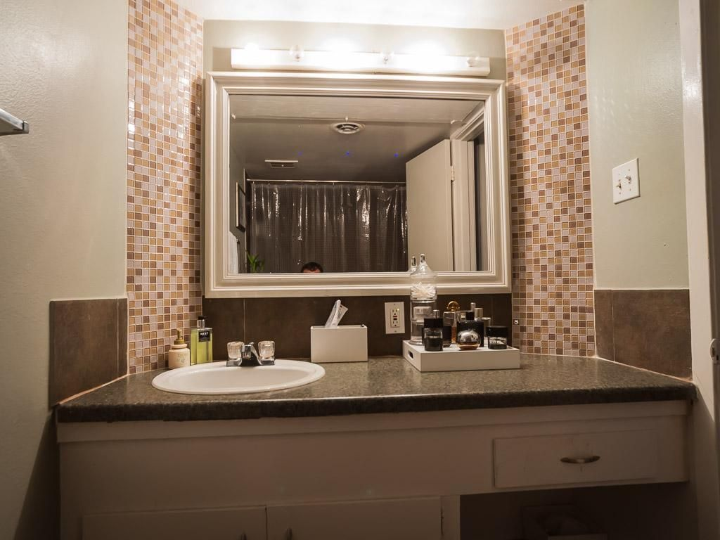 Bathroom Mirrors Houston Tx the full bathroom has very cool tile accents around the mirror and