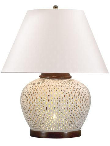 Ralph Lauren Pierced Porcelain Table Lamp With A Crackled Glaze. White U0026  Wood Trim.