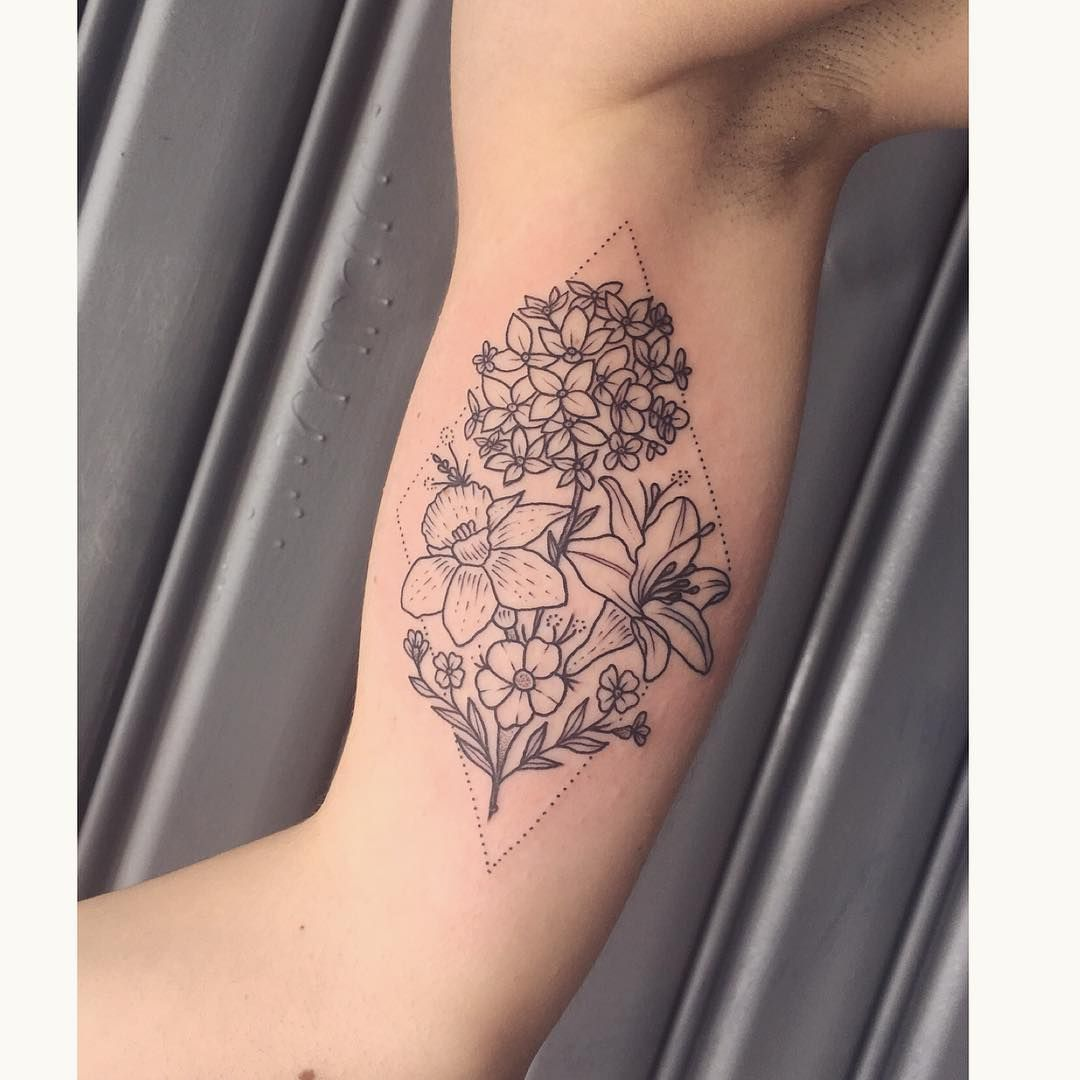 Flower Tattoo On The Inner Forearm Tattoo Artist Doy: Flower Tattoos, Tattoos, Bouquet Tattoo