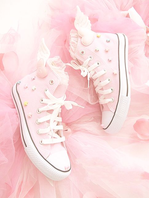 Wings Stars All Kawaii Pastel Star Kei Pink Converse Shoes Diy Fairy thdsCQr