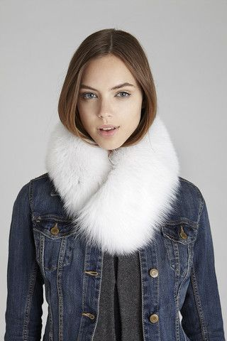 White Windsor Fox Fur Collar