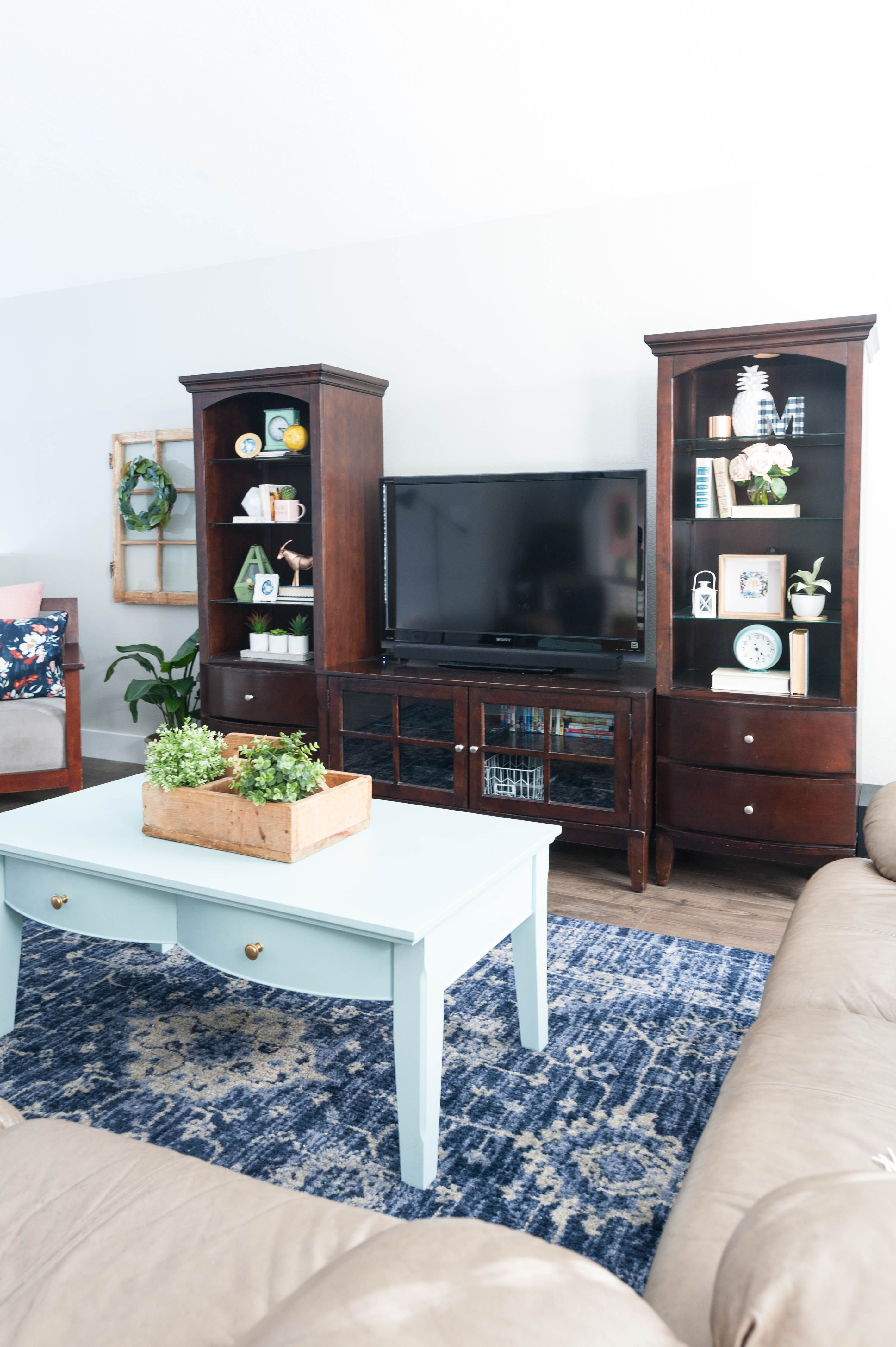 Pink, Navy Blue, and Jade Family Room Decor REVEAL JO's