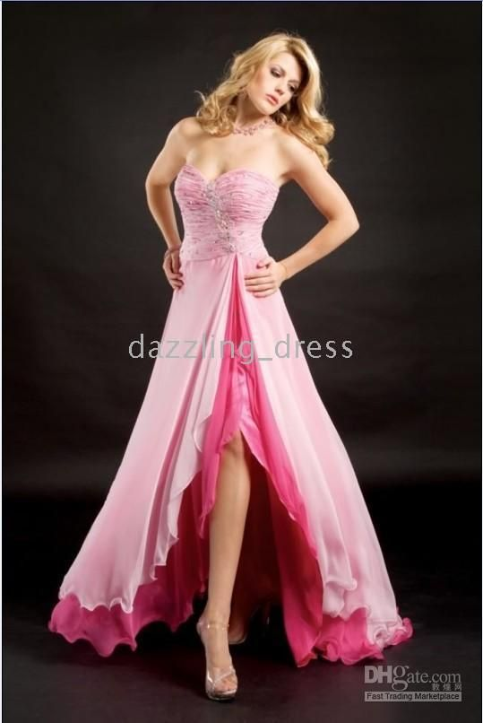 Pink Strapless Low-High Prom Dress. US $148.35 | Pink Is A Girls ...