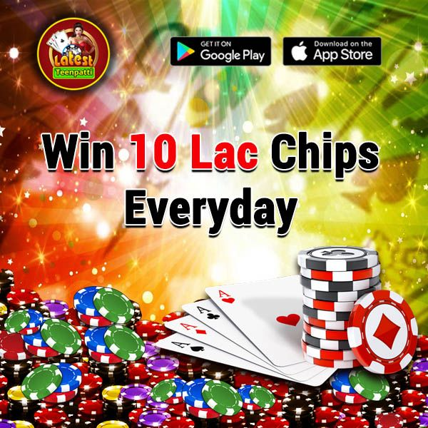Hurray! Win 10 Lac Chips Everyday Share this post in your Facebook timeline feed and Win 10 Lac #chips and high bonus points.  Play #LTP #indianpoker #game #latestteenpatti  Download the #app now and get benefit>>>>>>  For Android: goo.gl/vdhhCz For iTunes: goo.gl/pTQLWT