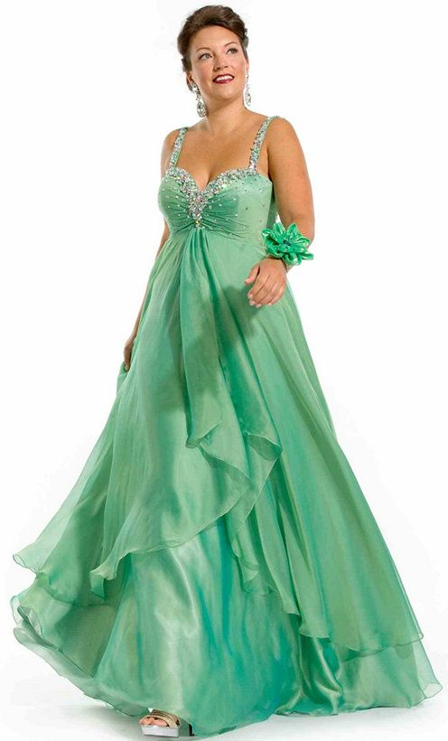 plus size mermaid gown aqua | 2014 Plus Size Prom Dresses For a ...