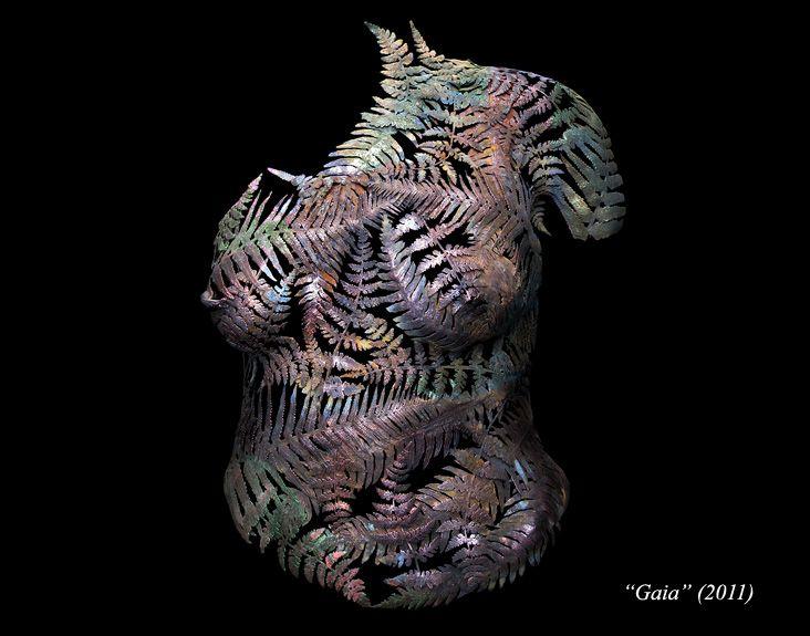 'Gaia' copper and brass leaf sculpture by Masters & Munn