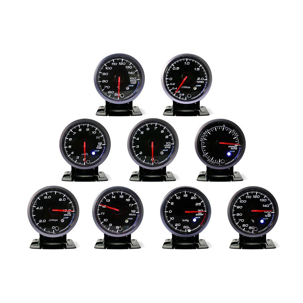 No Logo 60 MM Black Face turbo Boost, Acqua/Olio temp, Olio press, Voltmetro, aria/carburante, gas di scarico temp, tachimetro Auto Gauge/meter