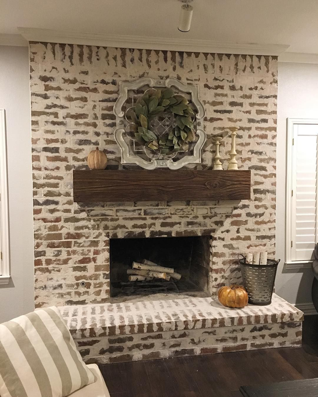 All Done With This German Smear Fireplace Didn T Our Client Decorate It Beautifully For Fall Home Fireplace Brick Fireplace Makeover Fireplace Makeover