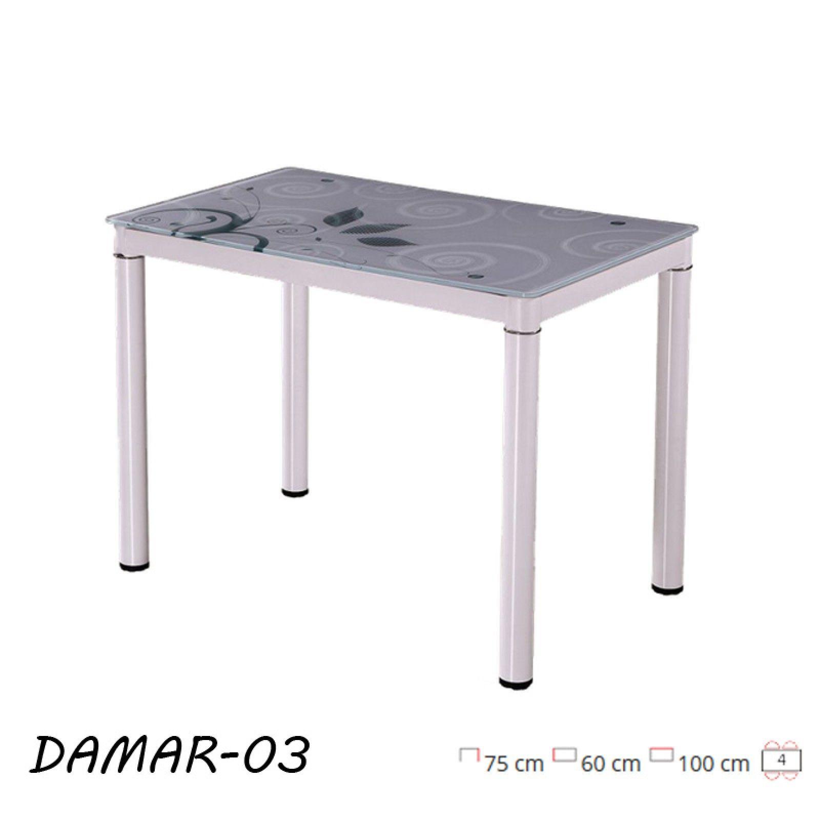 Damar modern, edzett üveg étkezőasztal, festett fém vázzal, fehér ...