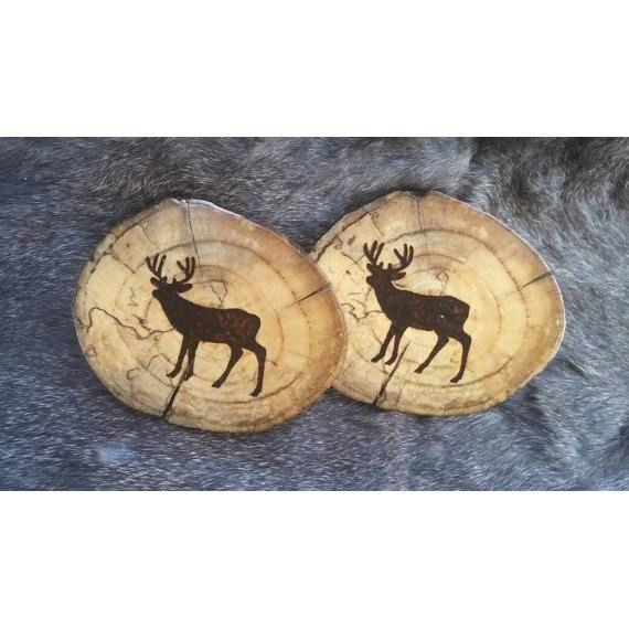 Wood Burned Driftwood Coasters - Set of 2 - Whitetail Buck