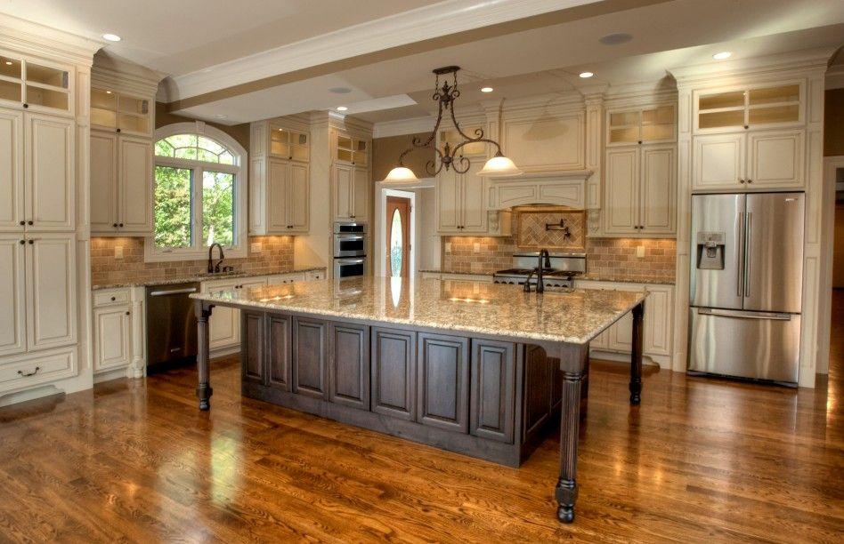 Furniture, Minimalist Glazed Cabinets For Kitchen Decoration Ideas: Large White Granite Kitchen Island With Elegant White Glazed Cabinets And Natural Brown Kitchen Backsplash Tiles