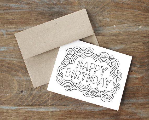 Greeting Card Happy Birthday Color Your Own Card Diy Birthday