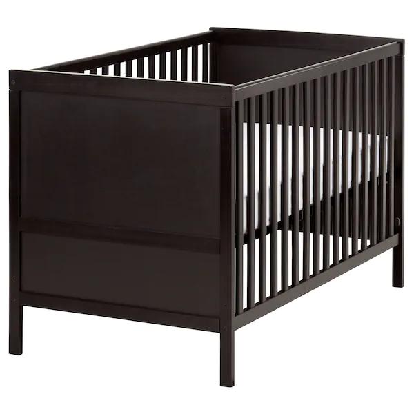 "SUNDVIK Crib, blackbrown, 27 1/2x52"" IKEA in 2020"
