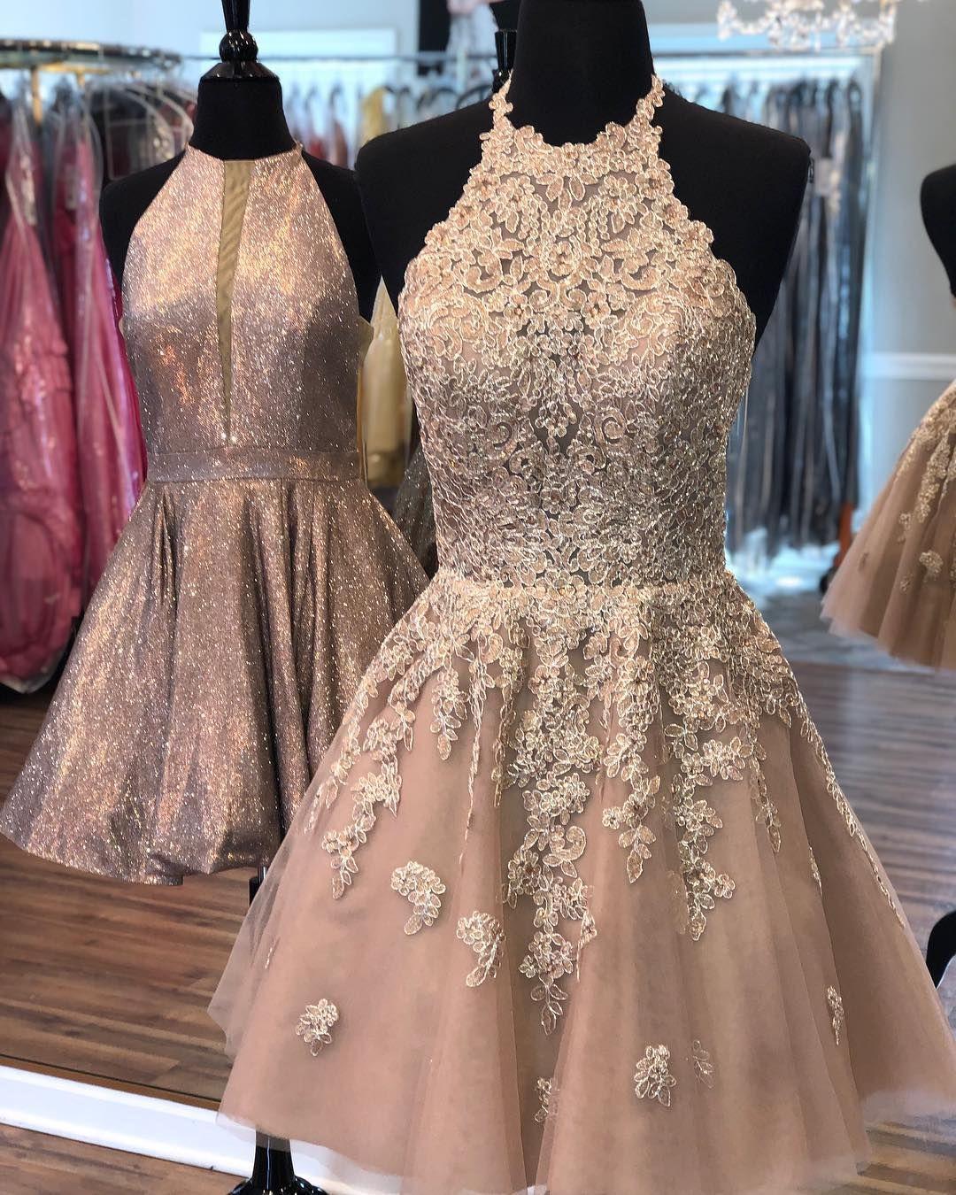 Gold Homecoming Dress Halter Homecoming Dress Appliques Girl Dress Short Prom Dresses Mini Homecoming Dresses Homecoming Dresses Elegant Party Dresses [ 1350 x 1080 Pixel ]