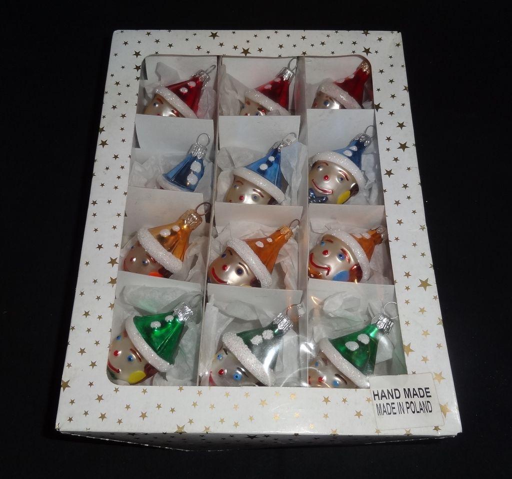 Polish glass ornaments - 12 Vintage Hand Made Polish Glass Clown Christmas Ornaments In Original Box