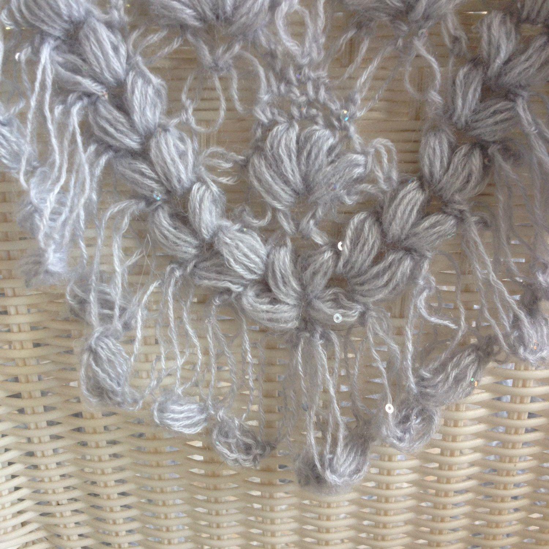 Hand made crochet triangle puff stitch shawl in moonstone. light ...