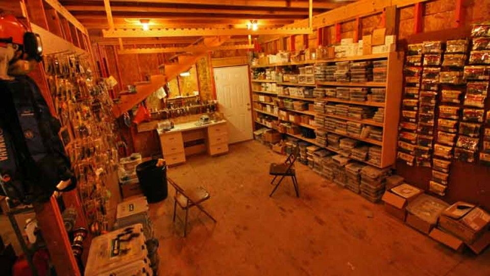 Fishing tackle room google search man cave pinterest for Fishing man cave