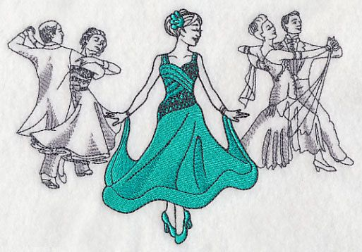 Ballroom Fashion Plate Embroidered Terry by forgetmeknottreasure