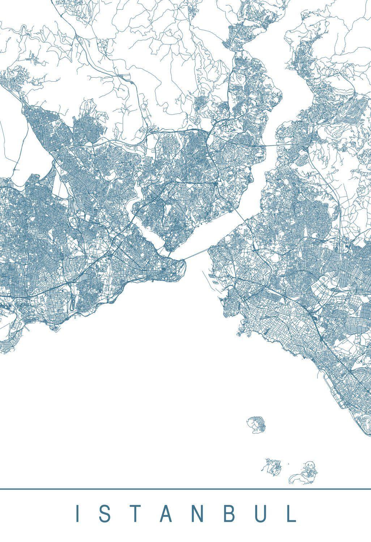 Karte Map Istanbul Turkei Turkey Kunstdruck Turkei Karte