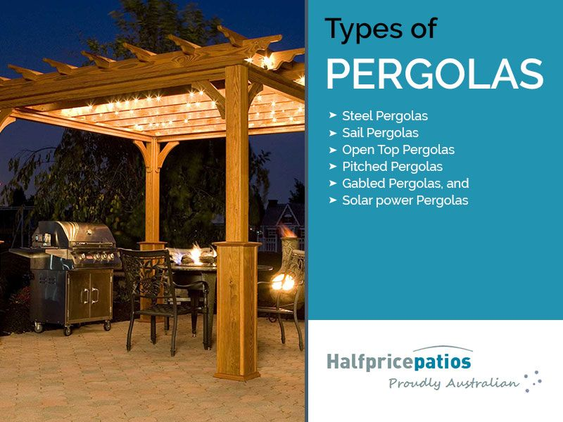 Types of Pergolas - • Steel Pergolas • Sail Pergolas • Open Top Pergolas •  Pitched Pergolas • Gabled Pergolas, and • Solar power Pergolas - Types Of Pergolas - • Steel Pergolas • Sail Pergolas • Open Top