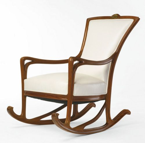 Beardbriarandrose:Louis Majorelle, Rocking Chair, C.1900; Fruitwood, Gilt  Bronze