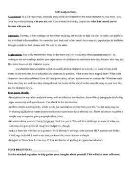 Self Analysi Essay Assignment Sheet Thoreau Analysis