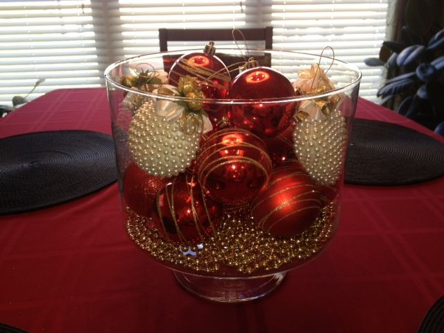 Trifle bowl filled with ornaments centerpiece holidays