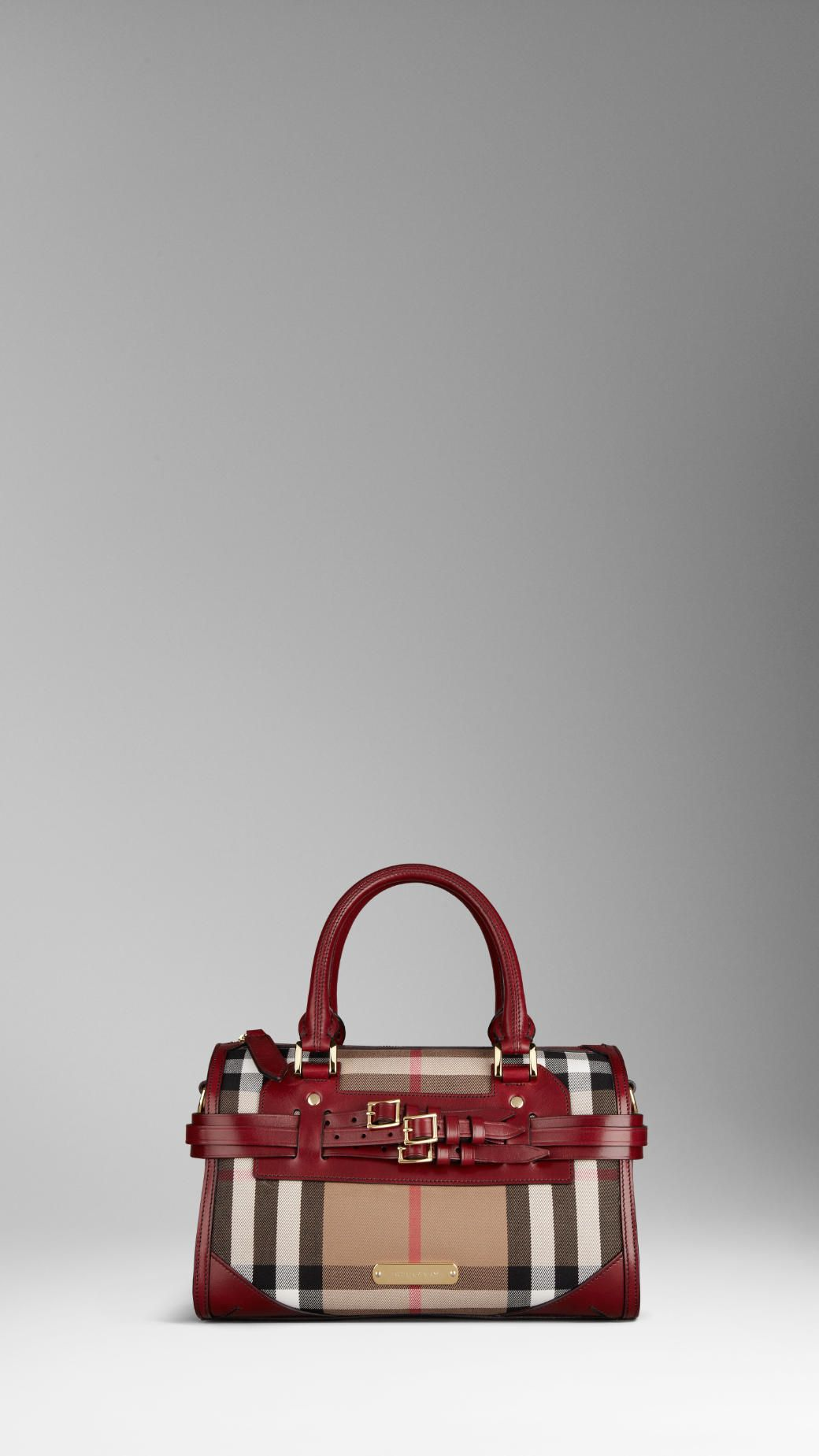 Burberry Medium Bridle House Check Bowling Bag in Red Claret. Cotton  Canvas Leather. 1 533511f05582e