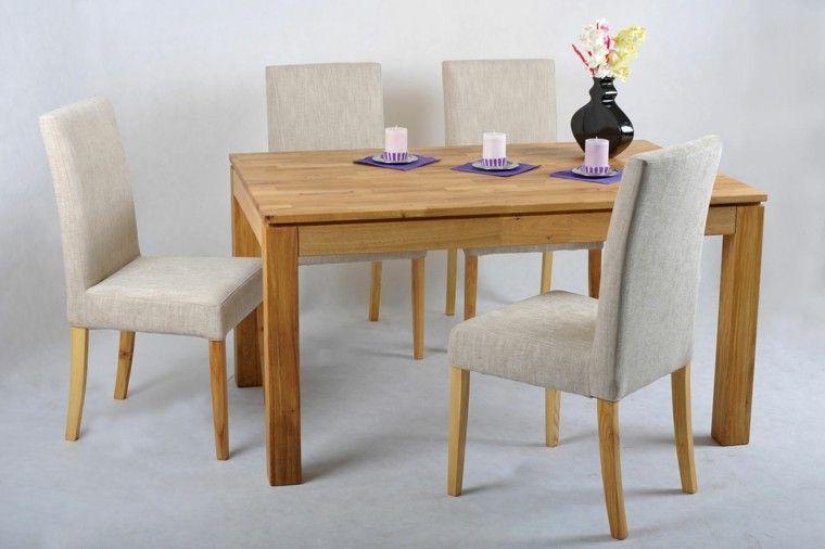 sillas de comedor baratas madera tela color beige ideas | comedor ...