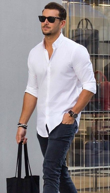 Shirts to wear with jeans street styles street and man for White shirt outfit mens