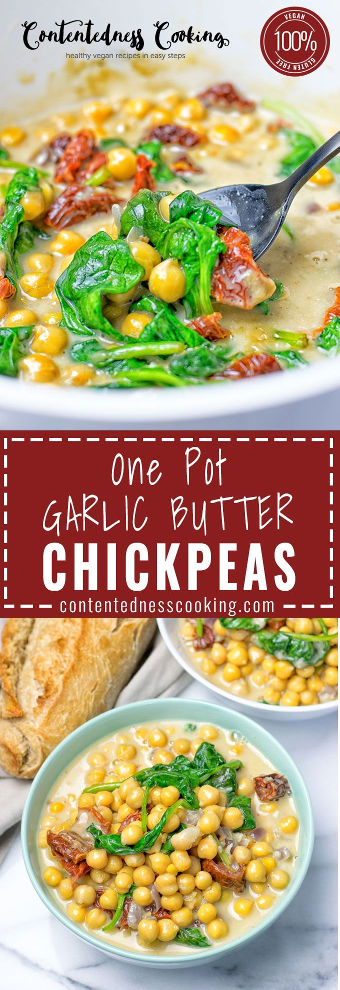 One Pot Garlic Butter Chickpeas are  vegan, gluten free and made in one pot. Made with cacao butter, oat cream, and spinach this is the perfect choice for an incredibly easy and delicious dinner or lunch. Believe me, I've never before tasted something so rich and creamy, while being make with wholesome plant-based ingredients only, enjoy!