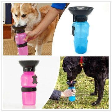 Pet Cat Dog Travel Mug Blue Pink Color Water Bowl Bottle ...