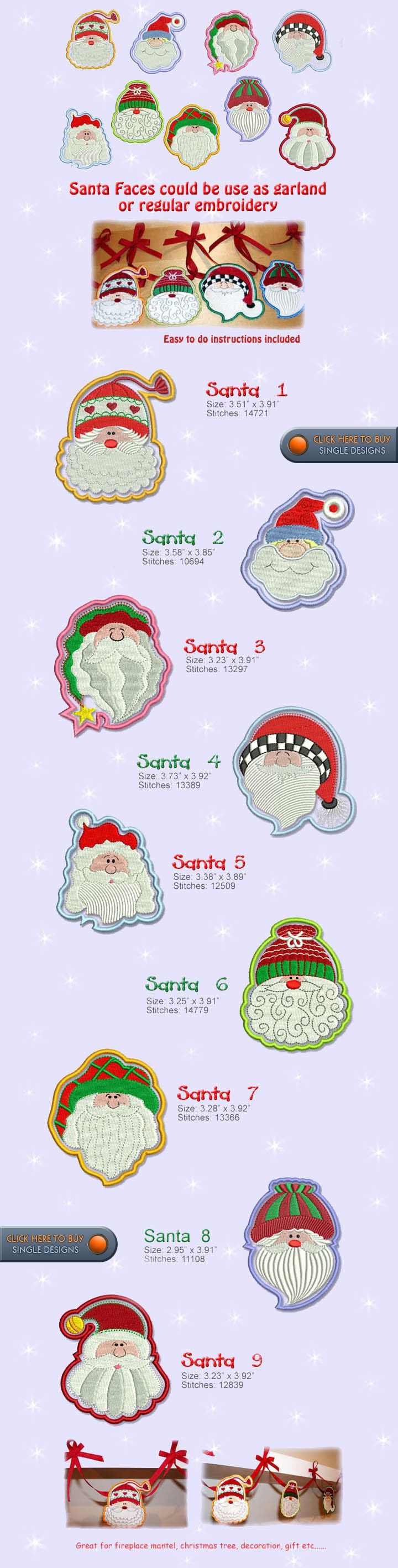 SANTA Embroidery Designs Free Embroidery Design Patterns