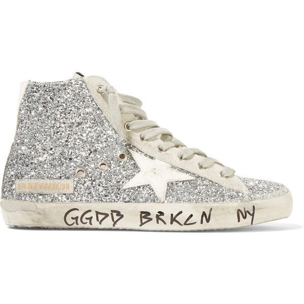 Golden Goose Deluxe Brand Francy distressed glittered suede high-top... (10.975 RUB) ❤ liked on Polyvore featuring shoes, sneakers, silver, white lace up sneakers, white shoes, golden goose high tops, suede sneakers and white sneakers