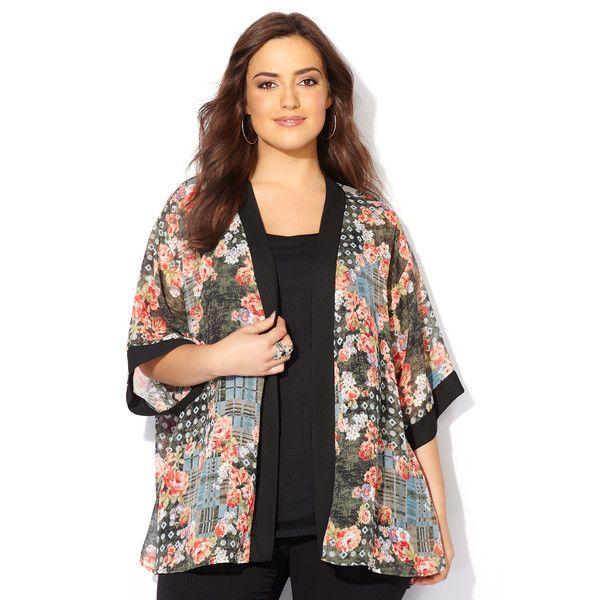Avenue Plus Size Floral Patchwork Sheer Kimono Cardigan ($30 ...