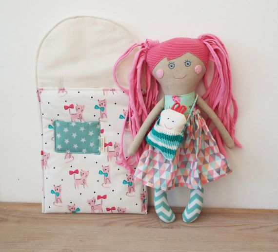 Doll for PlayMom and Baby Rag Doll with BedHandmade Stuffed