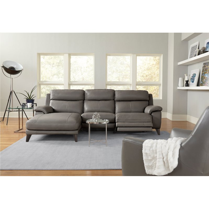 Elephant Gray Leather Match Power Reclining Sofa With Left Arm