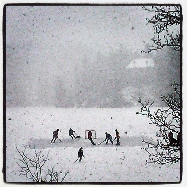 Pond hockey in the snow on Nita Lake nitalakelodge's photo on Instagram